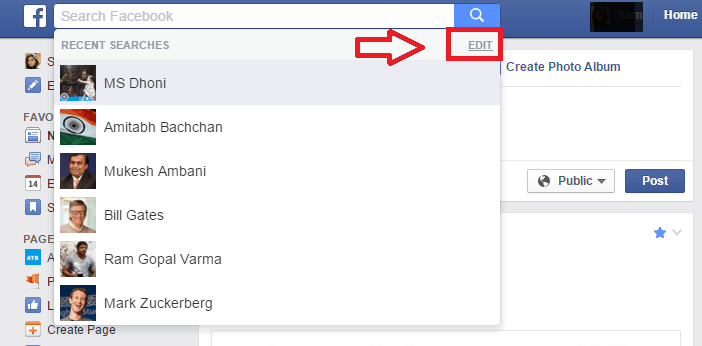 Clear Facebook Search History