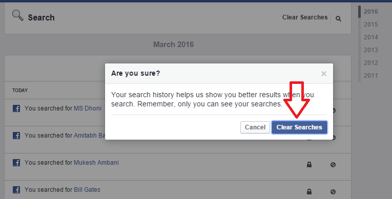 How to clear everything you search on facebook how to delete facebook search history ccuart Images